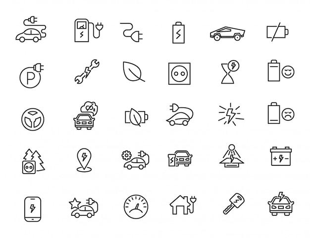Conjunto de ícones de carros elétricos lineares chrager station icons