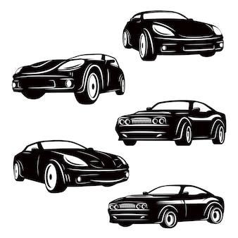 Conjunto de ícones de carros em fundo branco. elementos para o logotipo, etiqueta, emblema, sinal, crachá. ilustração