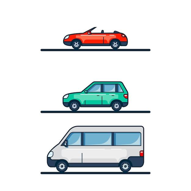 Conjunto de ícones de carros isolados no fundo branco