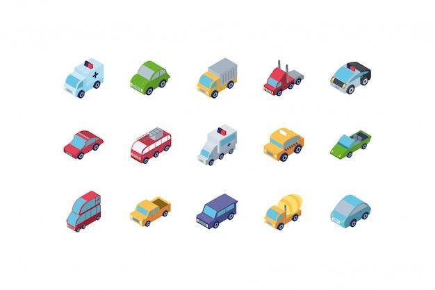Conjunto de ícones de carros isométricos isolados