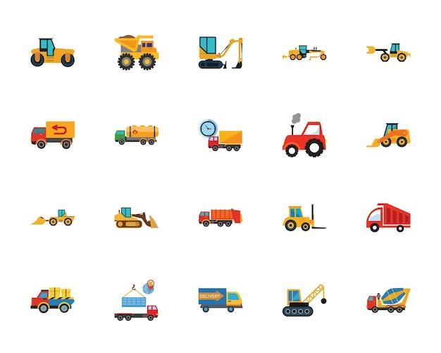 Conjunto de ícones de carros pesados