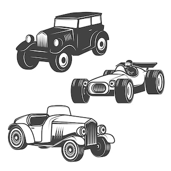 Conjunto de ícones de carros retrô em fundo branco. elementos