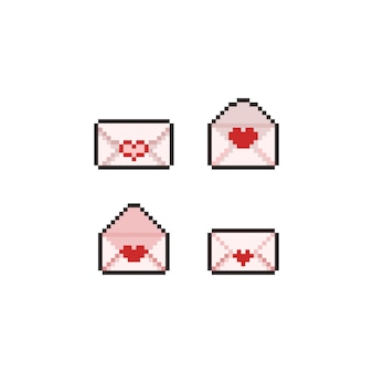 Conjunto de ícones de carta de amor de arte pixel.