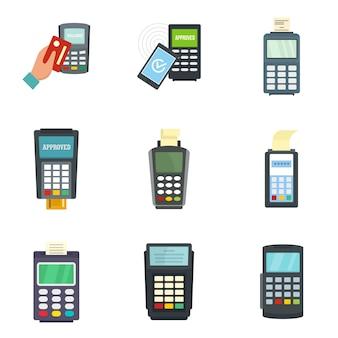 Conjunto de ícones de cartão de crédito do terminal do banco
