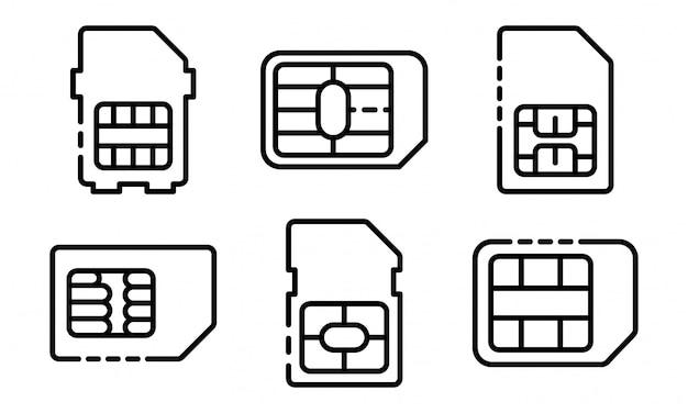 Conjunto de ícones de cartão de telefone sim, estilo de estrutura de tópicos
