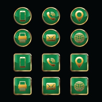 Conjunto de ícones de cartão de visita isolado no preto