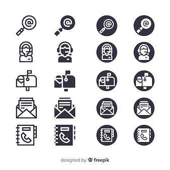 Conjunto de ícones de cartão de visita