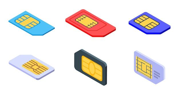 Conjunto de ícones de cartão sim telefone, estilo isométrico