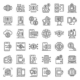 Conjunto de ícones de carteira digital, estilo de estrutura de tópicos