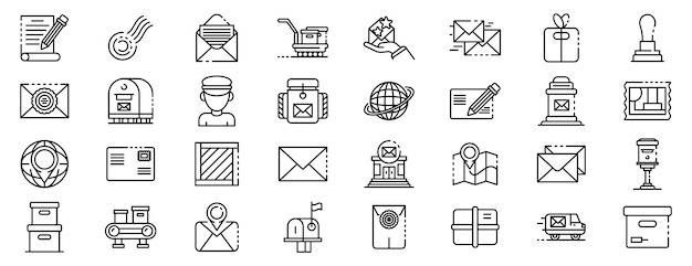 Conjunto de ícones de carteiro, estilo de estrutura de tópicos
