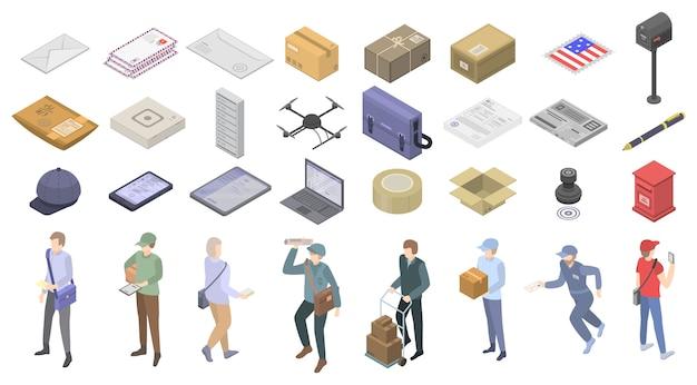 Conjunto de ícones de carteiro, estilo isométrico