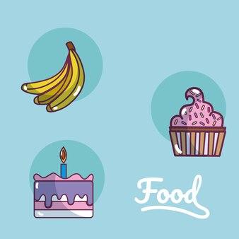 Conjunto de ícones de cartoons de comida
