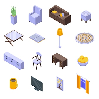 Conjunto de ícones de casa aconchegante.