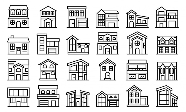 Conjunto de ícones de casa de campo, estilo de estrutura de tópicos
