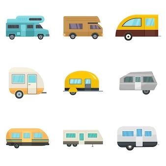 Conjunto de ícones de casa de reboque de carro de motorhome