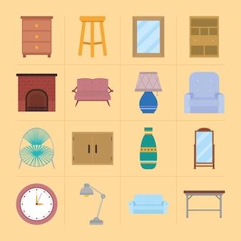 Conjunto de ícones de casa e móveis