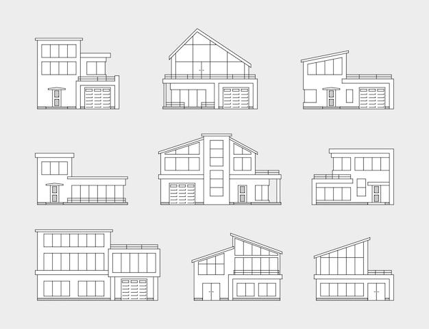 Conjunto de ícones de casa em fundo cinza, linha fina