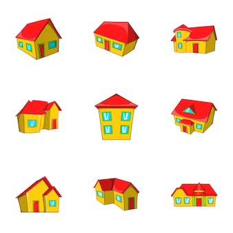 Conjunto de ícones de casa, estilo cartoon