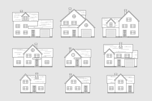Conjunto de ícones de casa, estilo de linha fina