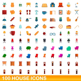 Conjunto de ícones de casa. ilustração dos desenhos animados de ícones de casas em fundo branco