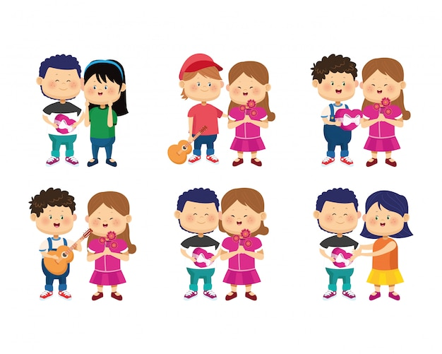 Conjunto de ícones de casais felizes dos desenhos animados no amor