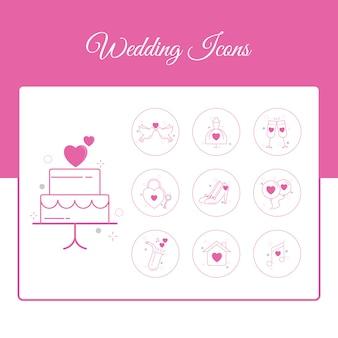 Conjunto de ícones de casamento com estilo de estrutura de tópicos