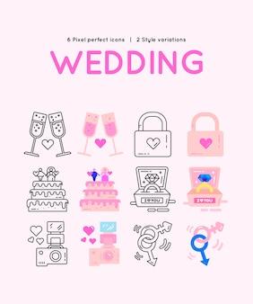 Conjunto de ícones de casamento em rosa