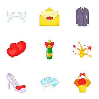 Conjunto de ícones de casamento, estilo cartoon