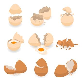 Conjunto de ícones de casca de ovo, estilo isométrico