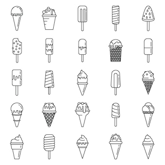 Conjunto de ícones de casquinha de sorvete