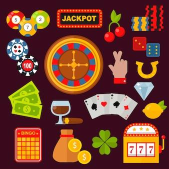 Conjunto de ícones de cassino com slot machine coringa de jogador de roleta