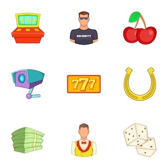 Conjunto de ícones de cassino, estilo cartoon