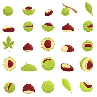 Conjunto de ícones de castanha. conjunto de desenhos animados de ícones castanhos para a web