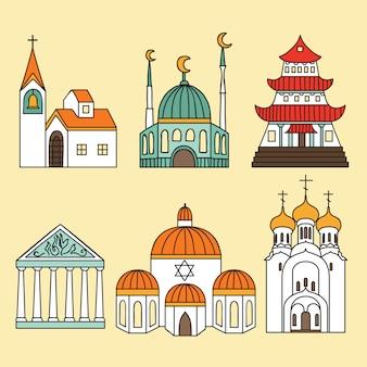 Conjunto de ícones de catedrais e igrejas