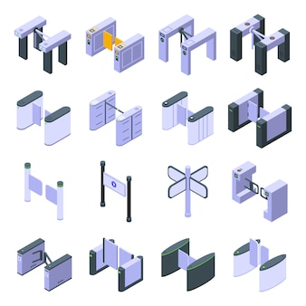 Conjunto de ícones de catraca, estilo isométrico