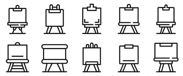 Conjunto de ícones de cavalete