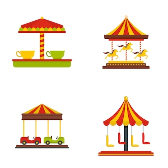 Conjunto de ícones de cavalo de carnaval carrossel