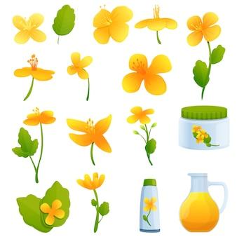 Conjunto de ícones de celandine. conjunto de desenhos animados de ícones celidônia para web