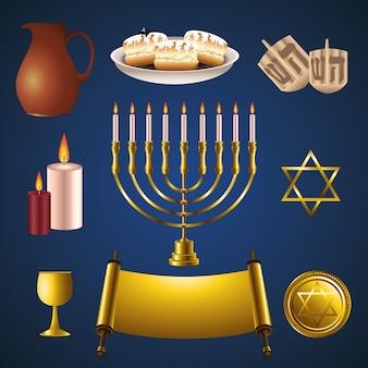 Conjunto de ícones de celebração do feliz hanukkah