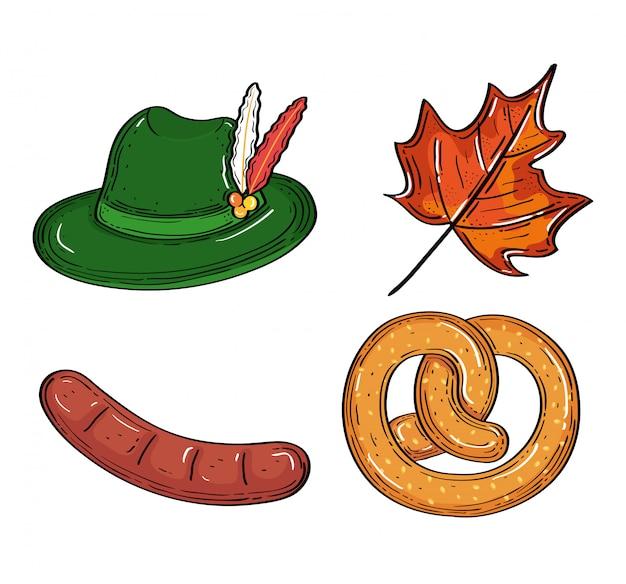 Conjunto de ícones de celebração do festival de cerveja oktoberfest