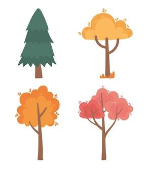 Conjunto de ícones de cena de natureza de floresta de árvores outonais