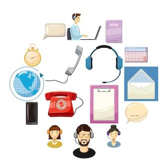 Conjunto de ícones de centro de chamada, estilo cartoon