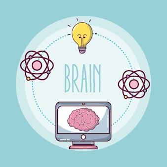 Conjunto de ícones de cérebro e intelligente