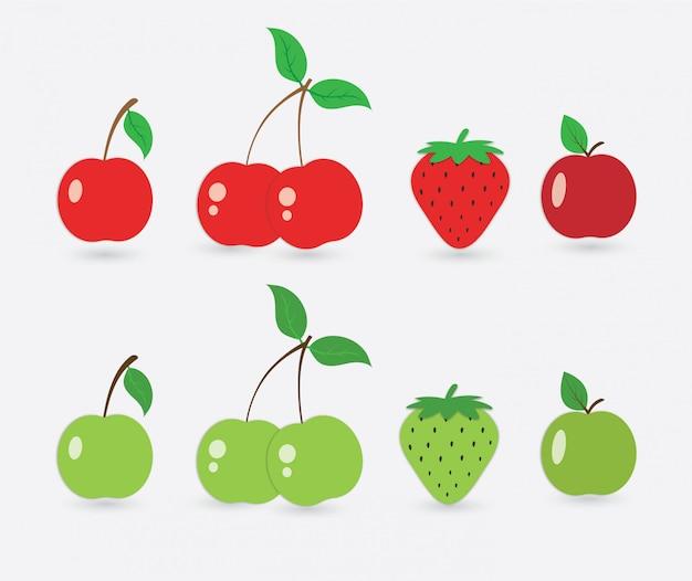 Conjunto de ícones de cereja, morango e maçã