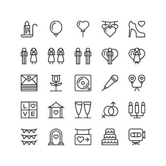 Conjunto de ícones de cerimônia de casamento