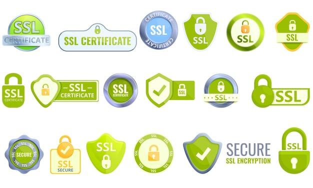 Conjunto de ícones de certificado ssl. conjunto de desenhos animados de ícones de certificado ssl