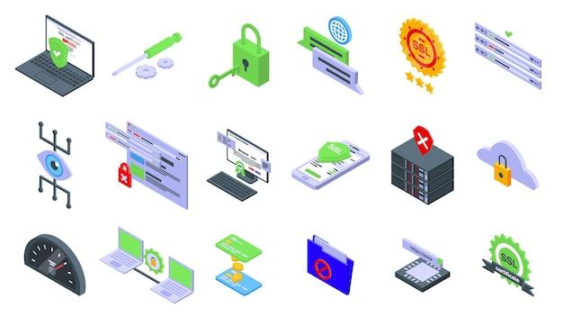 Conjunto de ícones de certificado ssl. conjunto isométrico de ícones vetoriais de certificado ssl para web design isolado no fundo branco