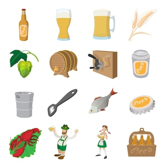 Conjunto de ícones de cerveja. conjunto de desenhos animados de ícones de cerveja para a web