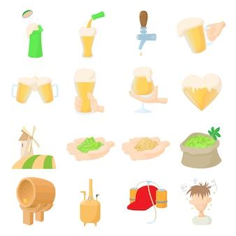 Conjunto de ícones de cerveja em vetor de estilo dos desenhos animados