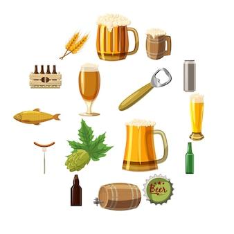 Conjunto de ícones de cerveja, estilo cartoon